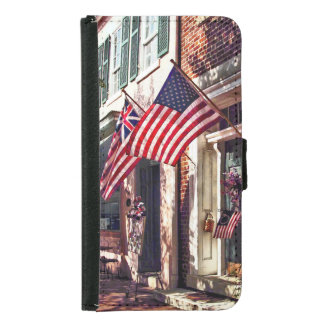 Fredericksburg VA - Street With American Flags Samsung Galaxy S5 Wallet Case