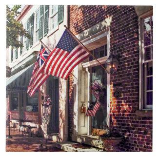 Fredericksburg VA - Street With American Flags Tile