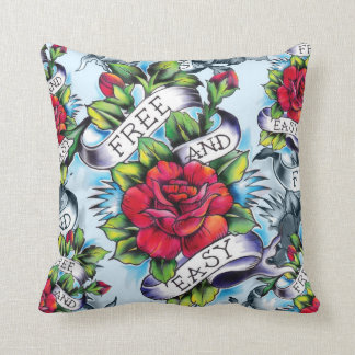 Free and Easy Americana Tattoo Rose pillow. Throw Pillow