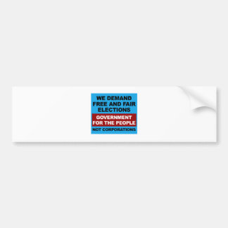 Free and Fair Elections Bumper Sticker