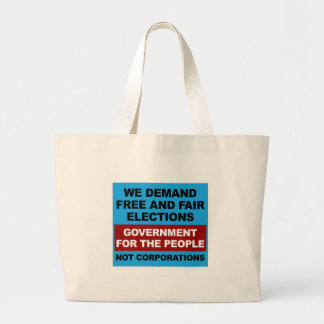 Free and Fair Elections Large Tote Bag