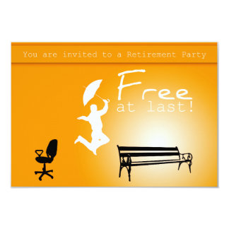 "Free at Last! Retirement Party Invitation 3.5"" X 5"" Invitation Card"