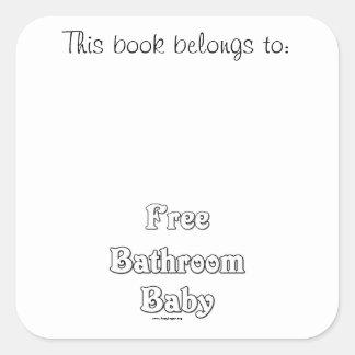 Free Bathroom Baby Square Sticker
