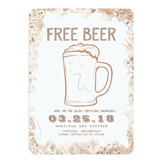 Free Beer | Rustic Funny Save the Date Card