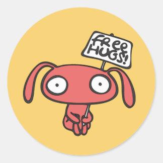 Free Bunny Hugs Classic Round Sticker