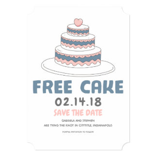 Free Cake | Simple and Funny Save the Date Card