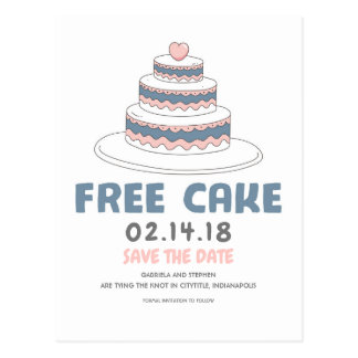 Free Cake | Simple and Funny Save the Date Postcard
