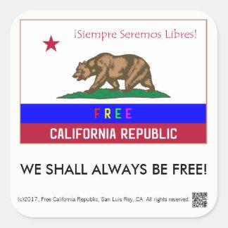 Free California Republic square stickers, set of 6 Square Sticker