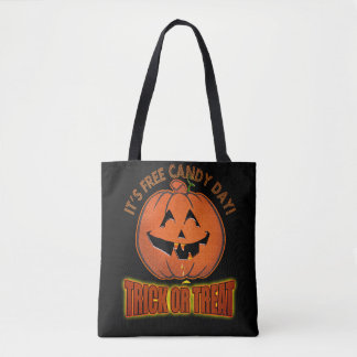 Free Candy Day Halloween Trick or Treat Tote Bag