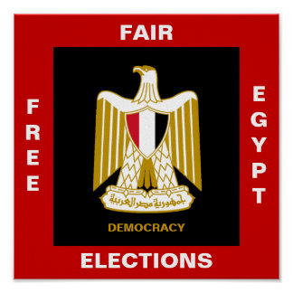 FREE EGYPT FAIR ELECTIONS DEMOCRACY POSTER