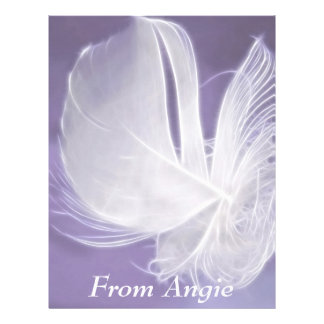 Free Falling feather on purple background Letterhead