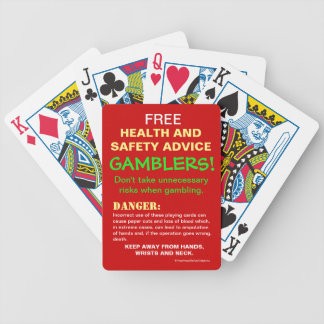 FREE Gambler Health and Safety Advice Joke Warning Bicycle Playing Cards