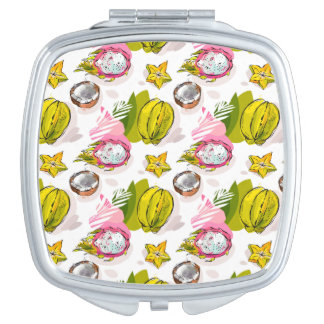 Free Hand Textured Fruit Pattern Compact Mirror