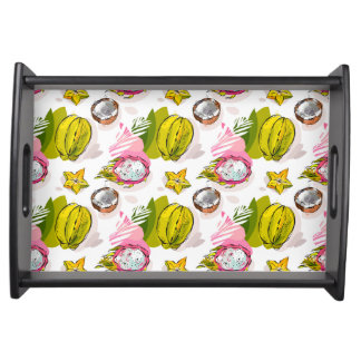 Free Hand Textured Fruit Pattern Serving Tray