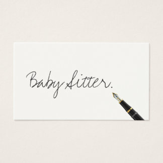Free Handwriting Script Baby Sitter Business Card
