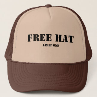 Free Hat, Limit One Trucker Hat