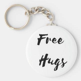 Free Hugs Black Text Basic Round Button Keychain