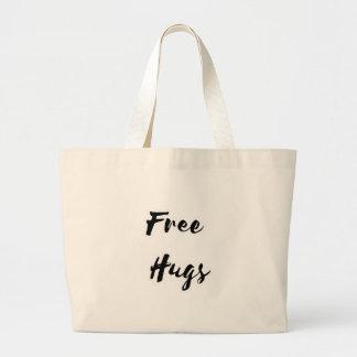 Free Hugs Black Text Large Tote Bag
