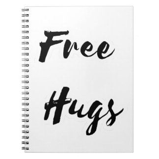 Free Hugs Black Text Note Book