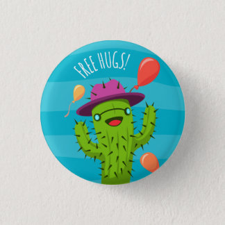 Free Hugs Cactus Illustration - Funny Badge 1 Inch Round Button