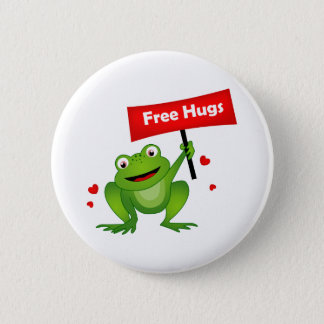 free hugs cute frog 2 inch round button