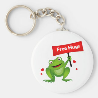 free hugs cute frog basic round button keychain