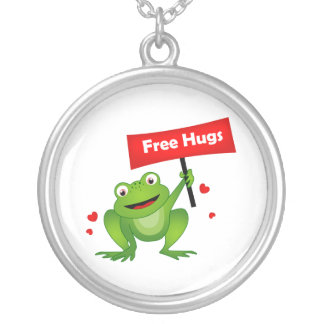 free hugs cute frog silver plated necklace