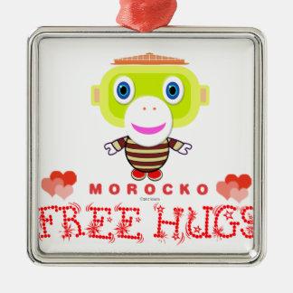 Free Hugs-Cute Monkey-Morocko Metal Ornament