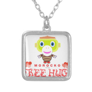 Free Hugs-Cute Monkey-Morocko Silver Plated Necklace