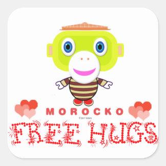 Free Hugs-Cute Monkey-Morocko Square Sticker