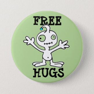 Free Hugs Funny Alien Button