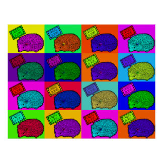 Free Hugs Hedgehog Colorful Pop Art Popart Poster