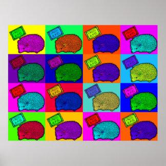 Free Hugs Hedgehog Colorful Pop Art Popart Print