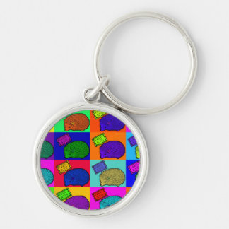Free Hugs Hedgehog Colorful Pop Art Popart Silver-Colored Round Keychain
