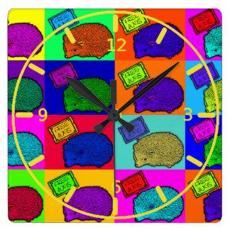 Free Hugs Hedgehog Colorful Pop Art Popart Wallclock
