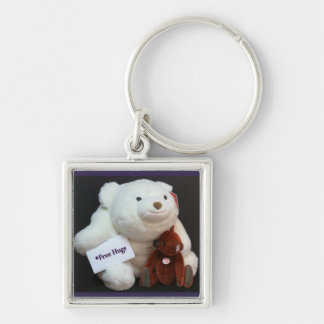 Free Hugs Keyring Silver-Colored Square Keychain