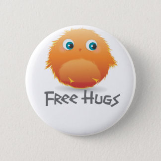 Free hugs small furry creature 2 inch round button