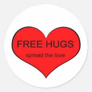 Free Hugs Spread Love Classic Round Sticker