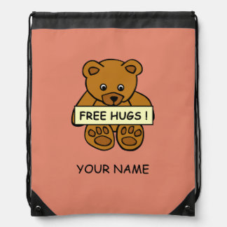 Free Hugs Teddy custom color bag Cinch Bag