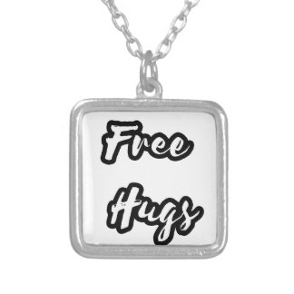 Free Hugs White Text Silver Plated Necklace
