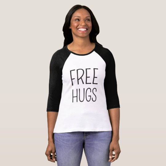 Free Hugs Women's Bella+Canvas 3/4 Sleeve Tshirt