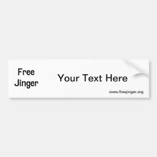 Free Jinger Car Bumper Sticker