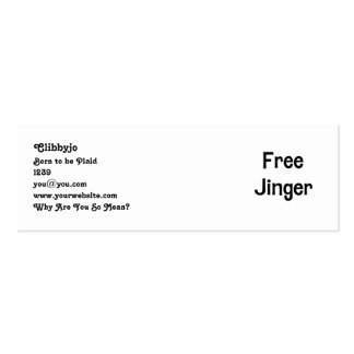 Free Jinger Pack Of Skinny Business Cards