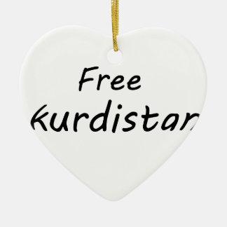 Free Kurdistan Ceramic Heart Ornament