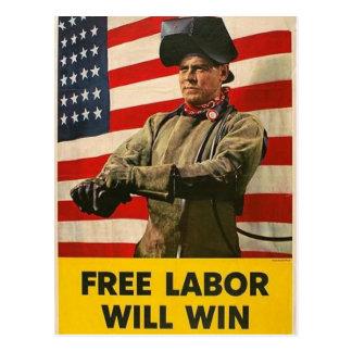 Free Labor will Win Postcard