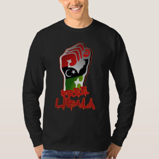 Free Libya Independence glowing Libyan flag fist T-Shirt