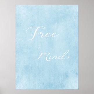 Free minds modern blue poster