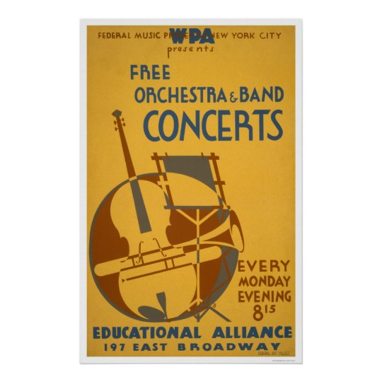 Free Orchestra Concerts 1938 WPA Poster