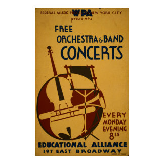 Free Orchestra Concerts 1938 WPA Vintage Poster
