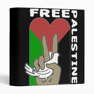 Free Palestine Dove Heart Peace Sign 3 Ring Binders